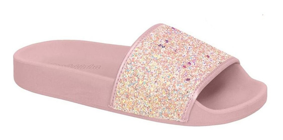 Chinelo Molekinha Slide Gliter Infantil 2311.105 Preto