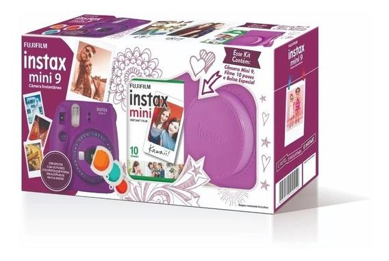 Kit Câmera Instax Mini 9 Roxa + Bolsa + 10 Filmes
