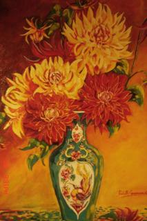 Pintura Dalias Oleo Sobre Tela 90 X 80 Cm Original