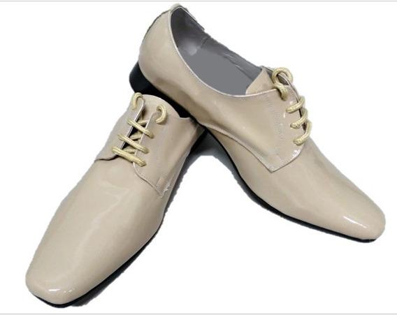 Sapato Social Masculino Cadarço Couro Natura/verniz Ref: 736
