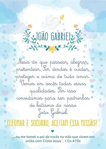 Imagem 1 de 3 de 30 Convites Padrinhos De Batismo Menino
