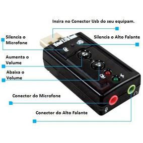Placa De Som Usb 7.1 Adaptador Fone Microfone
