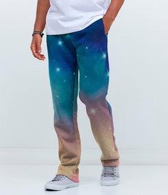 Calça Moletom Básica Cargo Galáxia Galactic Tumblr Galaxy