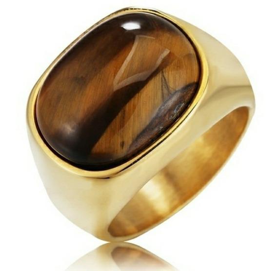 Anel Olho De Tigre, Metal Inoxidável, Dourado, Tamanho 19mm.