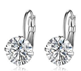 Brinco Feminino Prata 925 Pequeno Diamante Sintético 10mm