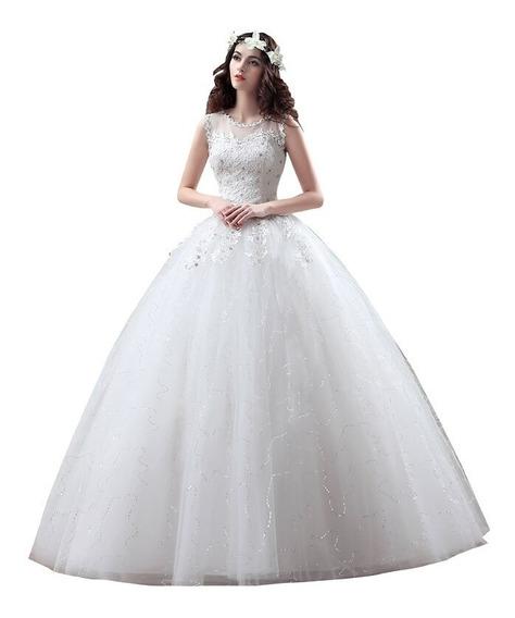 Vestido De Novia Barato De Encaje Princesa Con Plateado