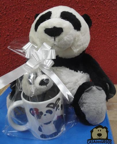 Imagem 1 de 9 de Caneca Porcelana Cute Love Me Panda 35cm + 15cm Casa Do Urso
