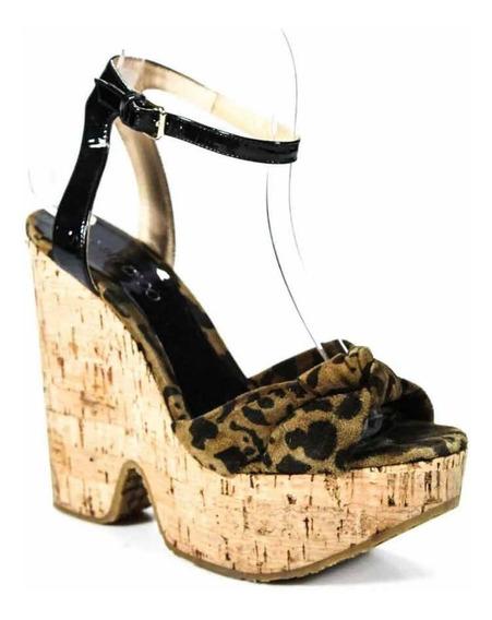 Zapato Plataforma Jimmy Choo Sandalia Tacón Corrido Leopardo