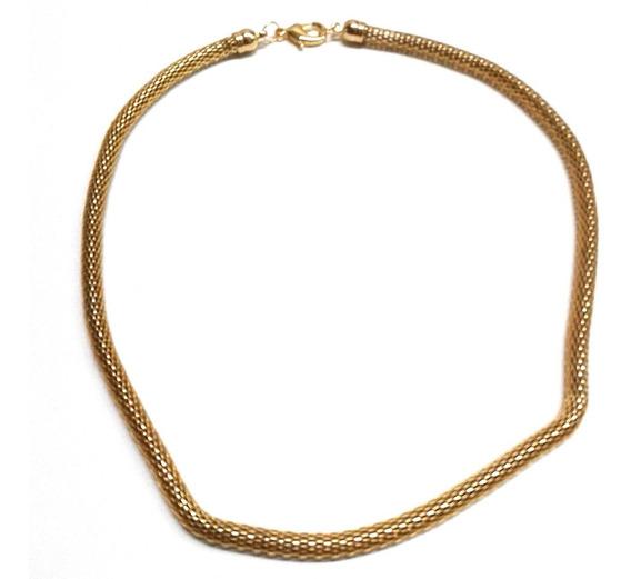 Colar Folheado A Ouro 18k Malha 5mm Grossa Estilo Pandora