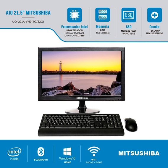 Computador All In One Intel Celeron Quad Core J3455 4gb Ssd 32gb 21,5 Windows Home Mitsushiba