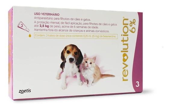 Revolution Cães E Gatos Filhotes Até 2,5 Kg Com 3 Pipetas