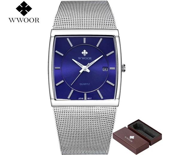 Relógio Masculino Fundo Azul Original Na Caixa Com Data