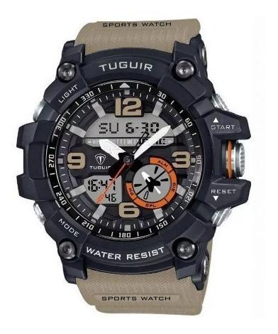 Relógio Masculino Tuguir Anadigi Tg6009 Bege