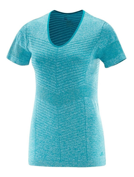Remera Salomon Elevate Seamless Mujer Celeste