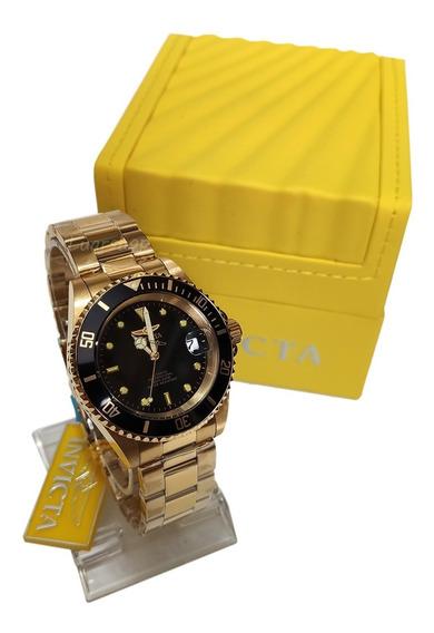 Relógio Invicta Automático Masculino Pro Diver Dourado Nf