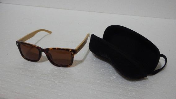 Óculos Feminino Madeira Bambu Sol Polarizado Uv400 Quadrado