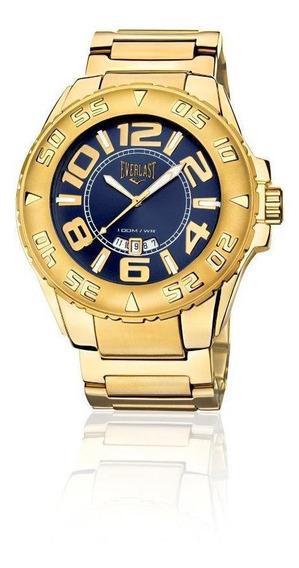 Relógio Analógico Everlast Masculino Caixa Pulseira Dourado