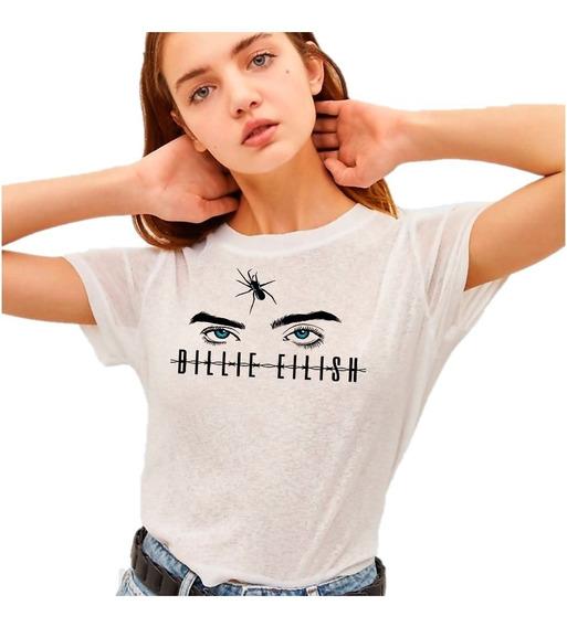 Playera Billie Eilish Ojos Y Araña Letras Alambradas 0285