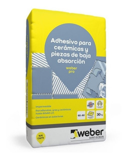 Pegamento Para Porcelanato Weber Pro Flexible X 30kg 1ª Cal