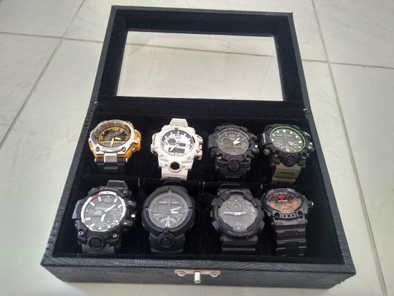 Kit Com 8 Relógios + Maleta Brinde 4 Relógios Barato Top