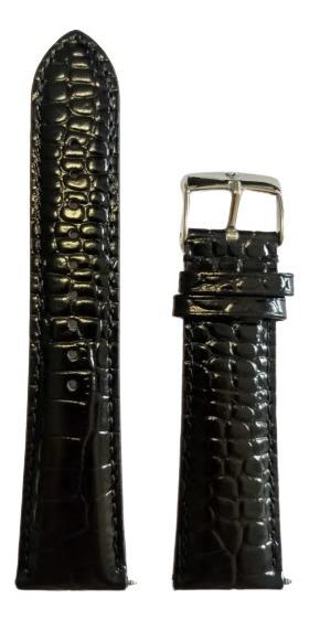 Pulseira Couro Preta Relógio Emporio Armani 24mm Textura