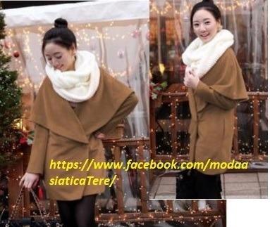 Abrigo Formal Caqui Cuello Amplio Moda Asiática