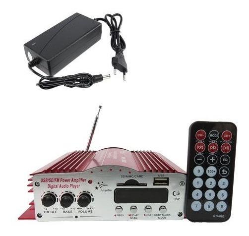 Receiver Amplificador Potencia 4 Canais Som Usb Sd Radio Fm