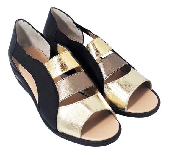 Sandalias Guaracha Cuero Negro Combinado Elastizadas Confort