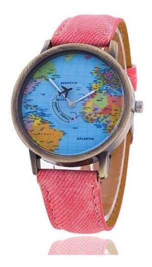 Kit 4 Relógios De Pulso Mapa Mundi Avião No Ponteiro.7 Cores