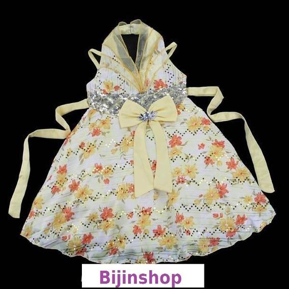 Vestido Infantil Festa Lilas Ou Amarelo Floral T4