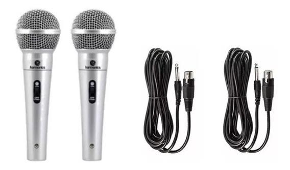 Kit 2 Microfones Profissionais Harmonics + 2 Cabos De 4,5m