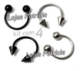 Piercing Ferradura Spike Bola 12mm Aço Inox Corpo Rosto Kit4