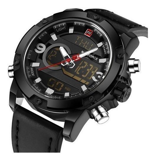 Relógio Naviforce 9097 Couro Original Analogico E Digital