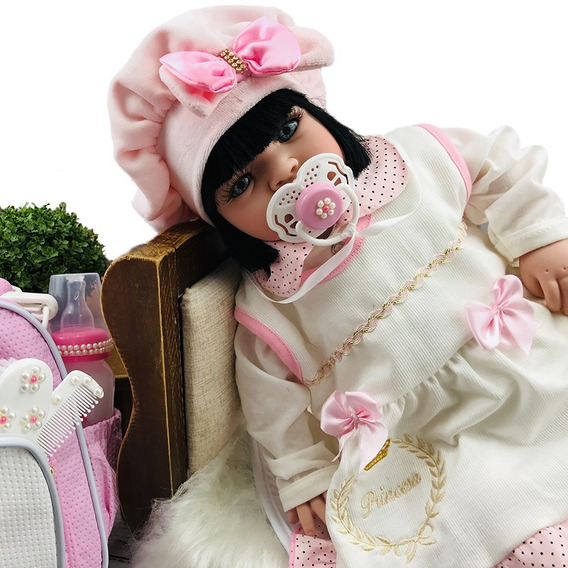 Bebê Reborn Barato Boneca Pronta Entrega Menina Com Bolsa