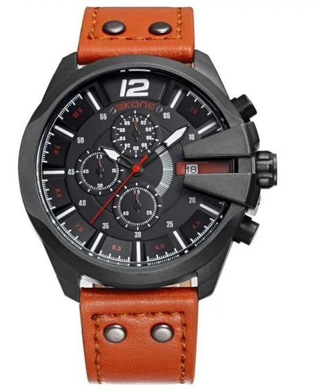Relógio Masculino Preto Aço Inox Pulseira Couro Calendário