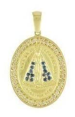 Medalha Nossa Senhora Em Ouro 18k Cravejada De Safira