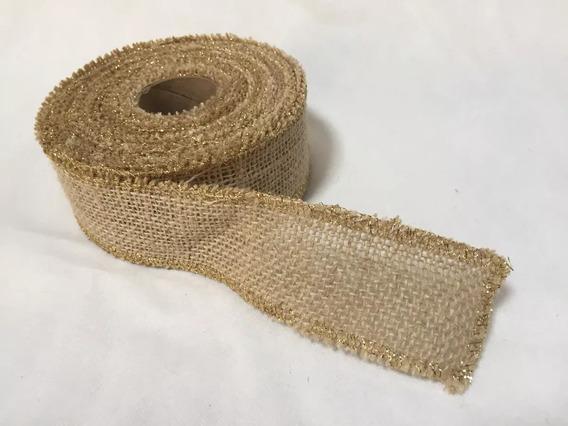 Fita De Juta Cor Natural 5cm Larg X 10 M Com Lurex Dourado