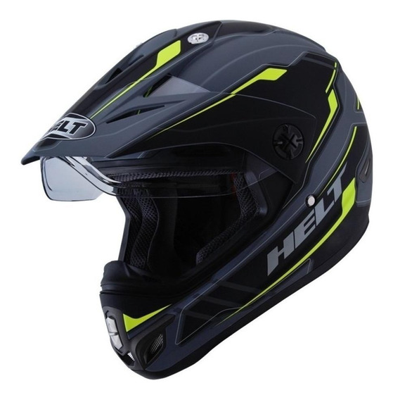 Capacete para moto Helt Cross Vision Triller verdeS