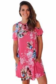 Vestidos Sueltos Florales Hombros Al Descubierto Varios Tono