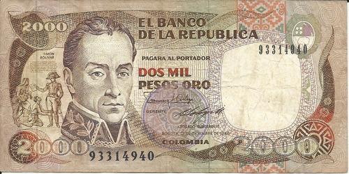 Imagen 1 de 2 de Colombia 2000 Pesos Oro 17 Diciembre 1986  Imprenta Bogotá