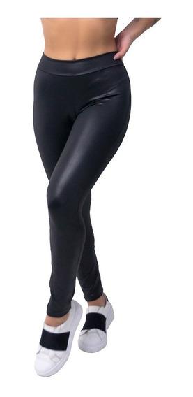 Calça Legging Cirre Brilho Roupas Feminina Couro Fake