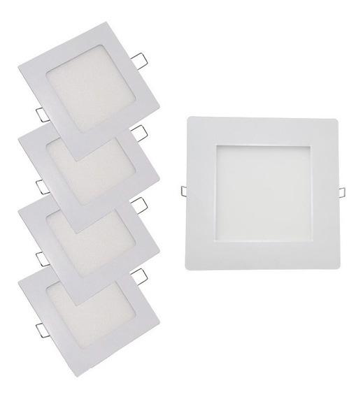 Kit 5 Painel Plafon Embutir Quadrado Led 48w Branco N 4000k