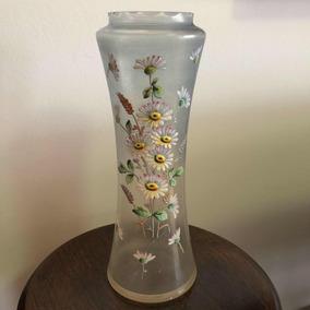 Antigo Vaso Nouveau Cristal Veneziano Soufflé Pintado À Mão