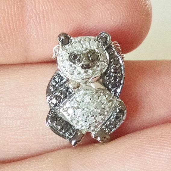 Dije De Oso Panda Con Diamantes En Plata Sólida .925