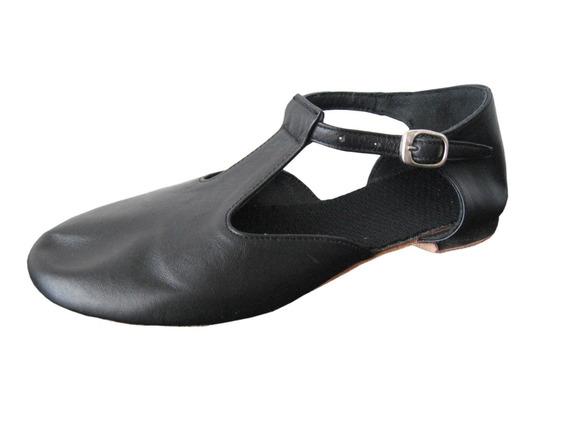 Zapatillas Guillermina Para Danza Jazz - Cuero Piel Y Negro