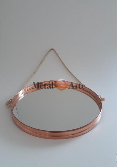 Espelho Redondo Adnet Com Moldura De Cobre 50 Cm Metal Arte