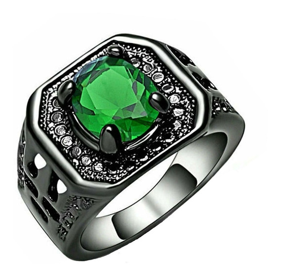 Anel Feminino Solitário Cristal Esmeralda Verde Titânio 900