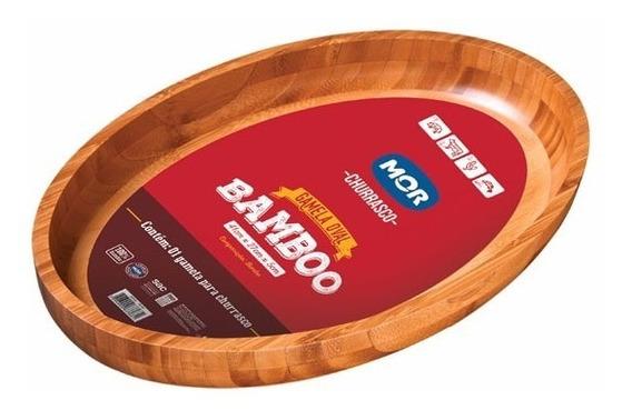 Fuente Bandeja Tabla Bambú Oval Mor Para Servir Muy Elegante
