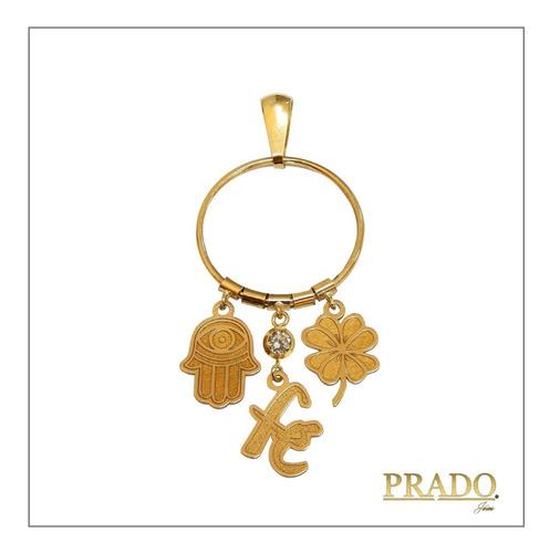Imagem 1 de 6 de Pingente Em Ouro 18k Patuá Amuleto Mão De Fátima Fé Trevo