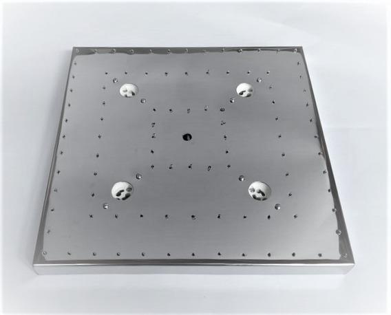Base De Aço Inox 30 Cm Quadrada Montagem Lustres 96 Furos